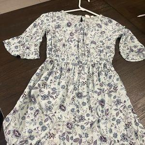 Casual 3/4 sleeve flower dress
